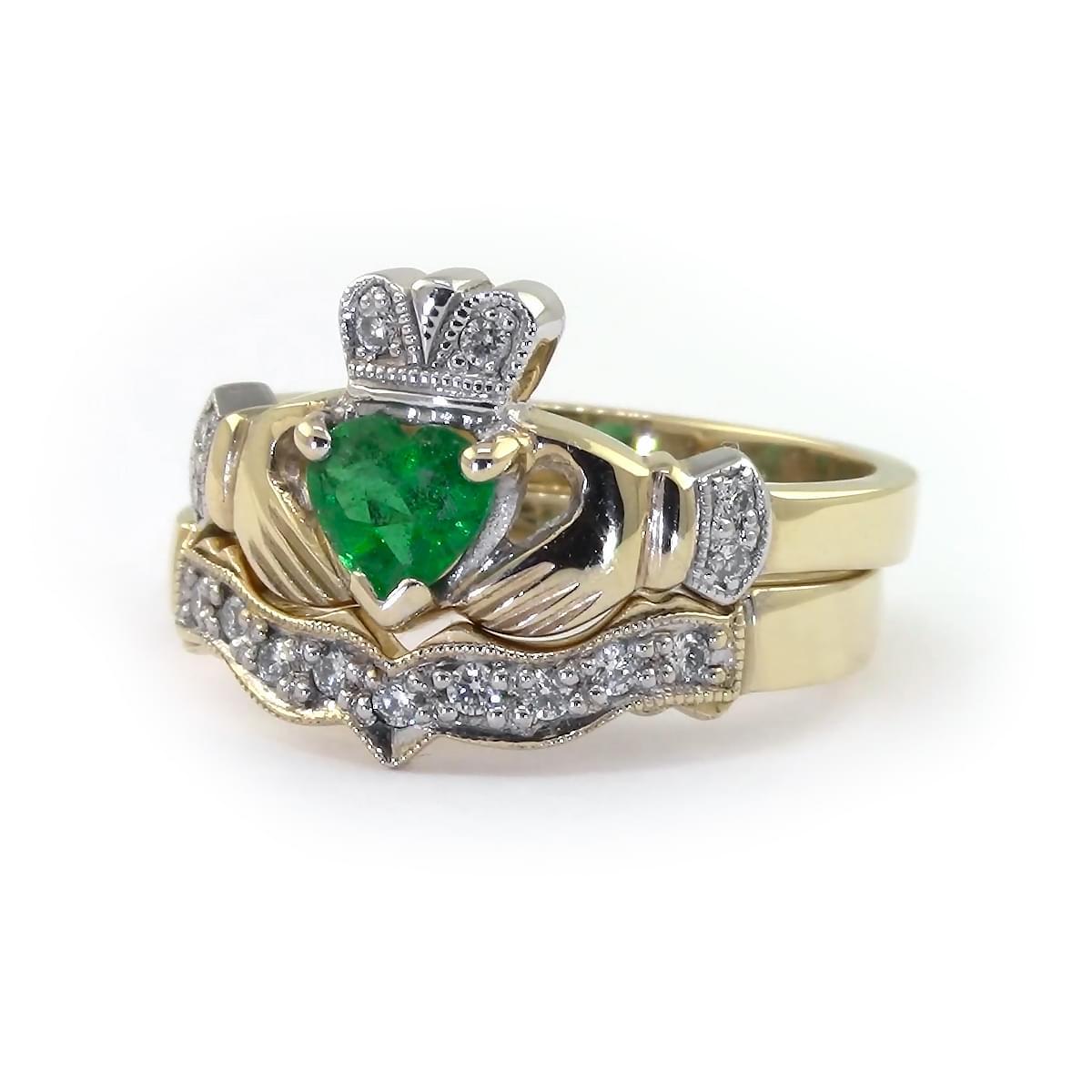 Yellow Gold Heartshape Emerald & Diamond Claddagh Ring Set