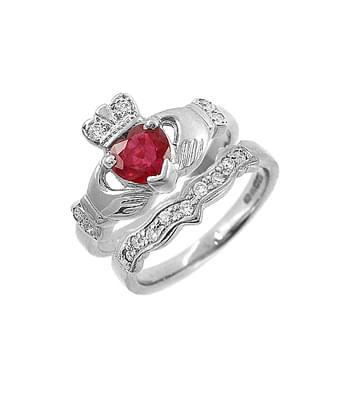 White Gold Ruby & Diamond Claddagh Ring Set