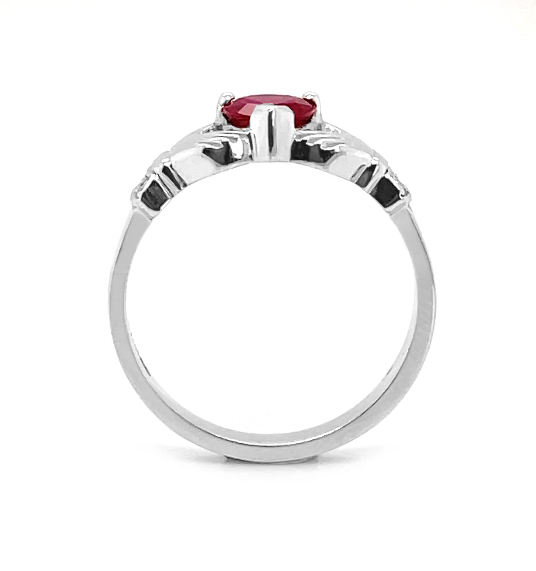 White Gold Ruby & Diamond Claddagh Ring