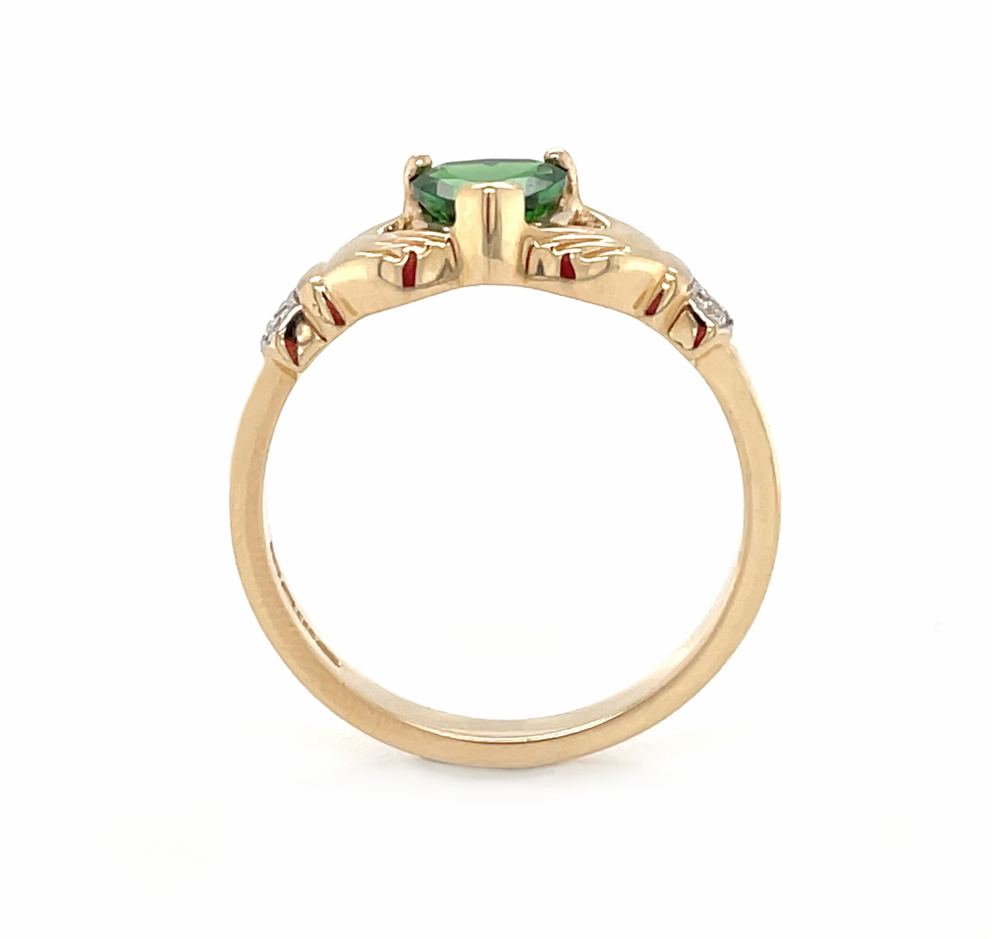 Yellow Gold Heartshape Tourmaline & Diamond Claddagh Ring
