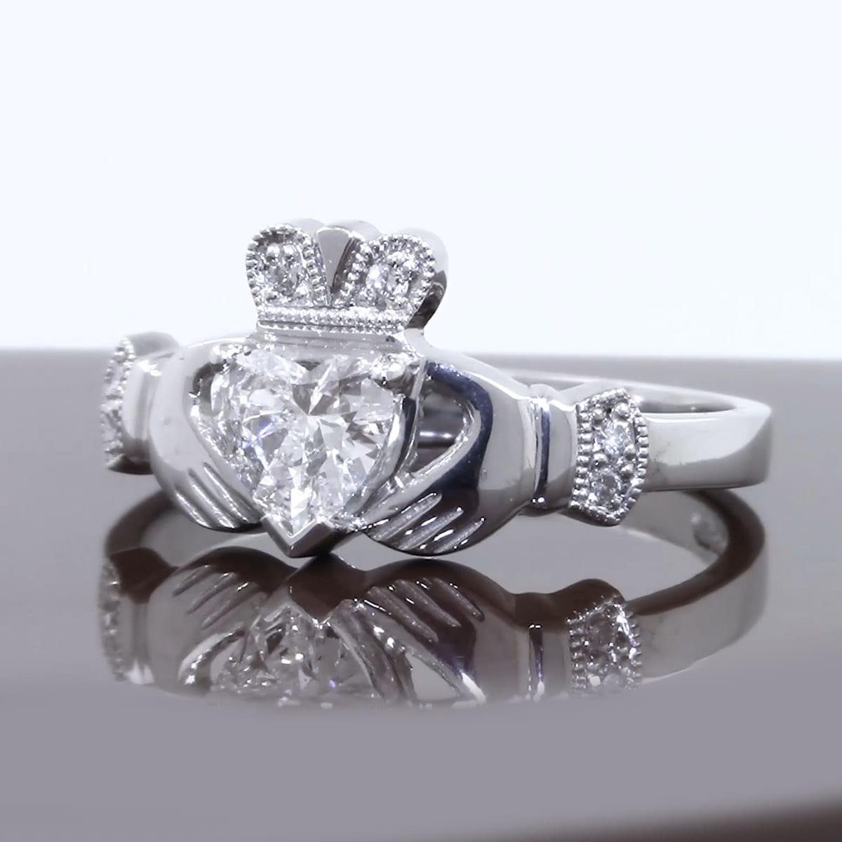 White Gold Heart Diamond Claddagh Engagement Ring