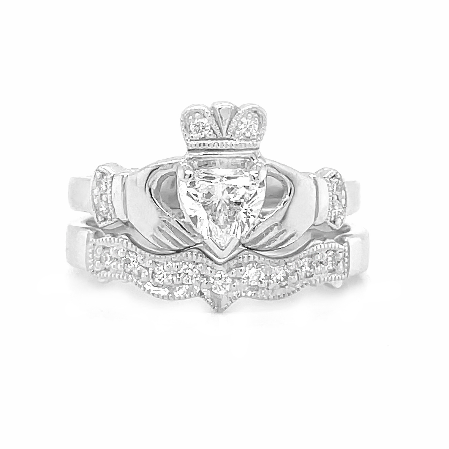Claddagh Engagement Ring Set  With Heart Diamond