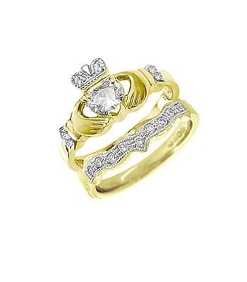 Yellow Gold Heart Diamond Claddagh Engagement Ring Set