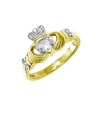Yellow Gold Heart Diamond Claddagh Engagement Ring
