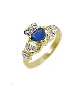 Yellow Gold Hearts Sapphire & Diamond Claddagh Ring