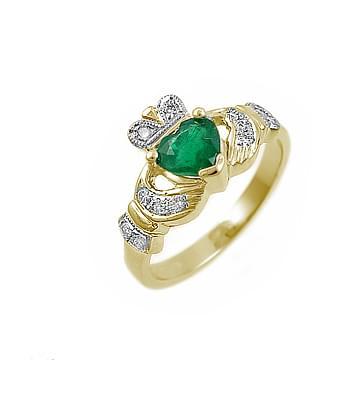 Yellow Gold Heart Emerald & Diamond Claddagh Ring