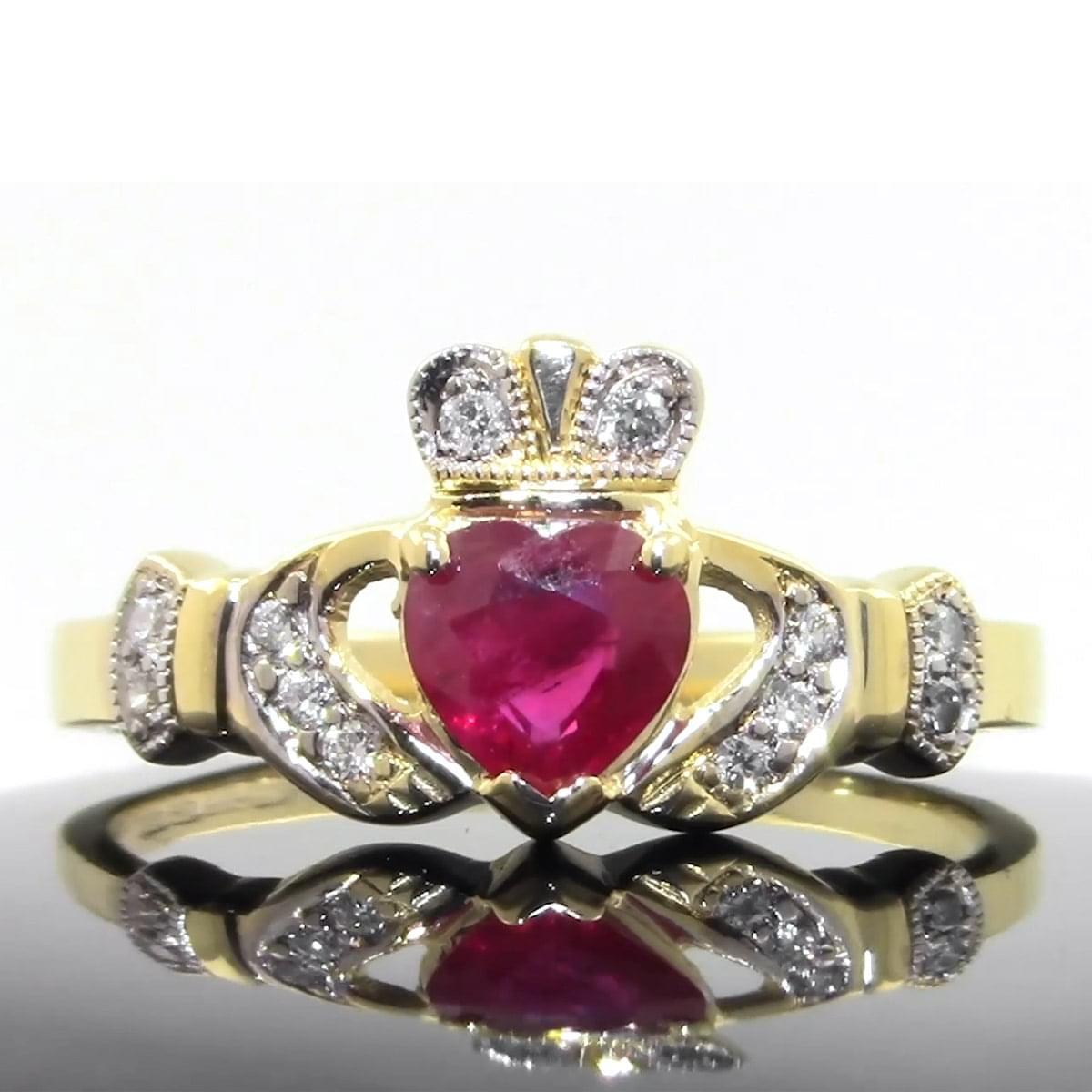 Yellow Gold Ruby & Diamond Claddagh Ring