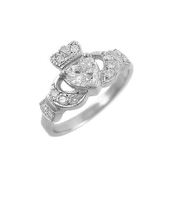 White Gold Heart Diamond Claddagh Engagement Ring Set