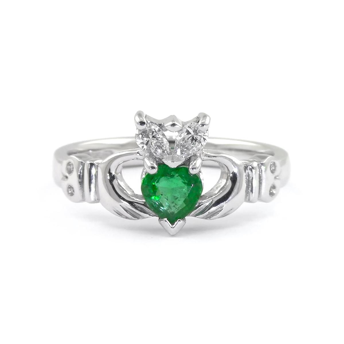White Gold Heartshape Emerald & Diamond Claddagh Engagement Ring