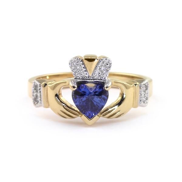 Yellow Gold Heartshape Sapphire & Diamond Claddagh Engagement Ring