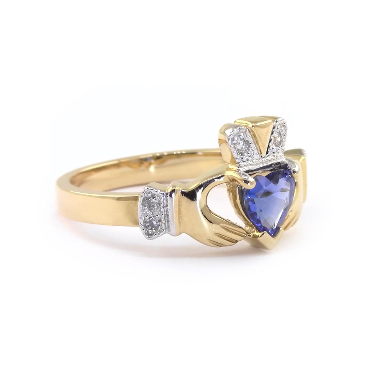 Heartshape Sapphire Diamond Claddagh Engagement Ring