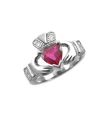 White Gold Heartshape Ruby & Diamond Claddagh Engagement Ring