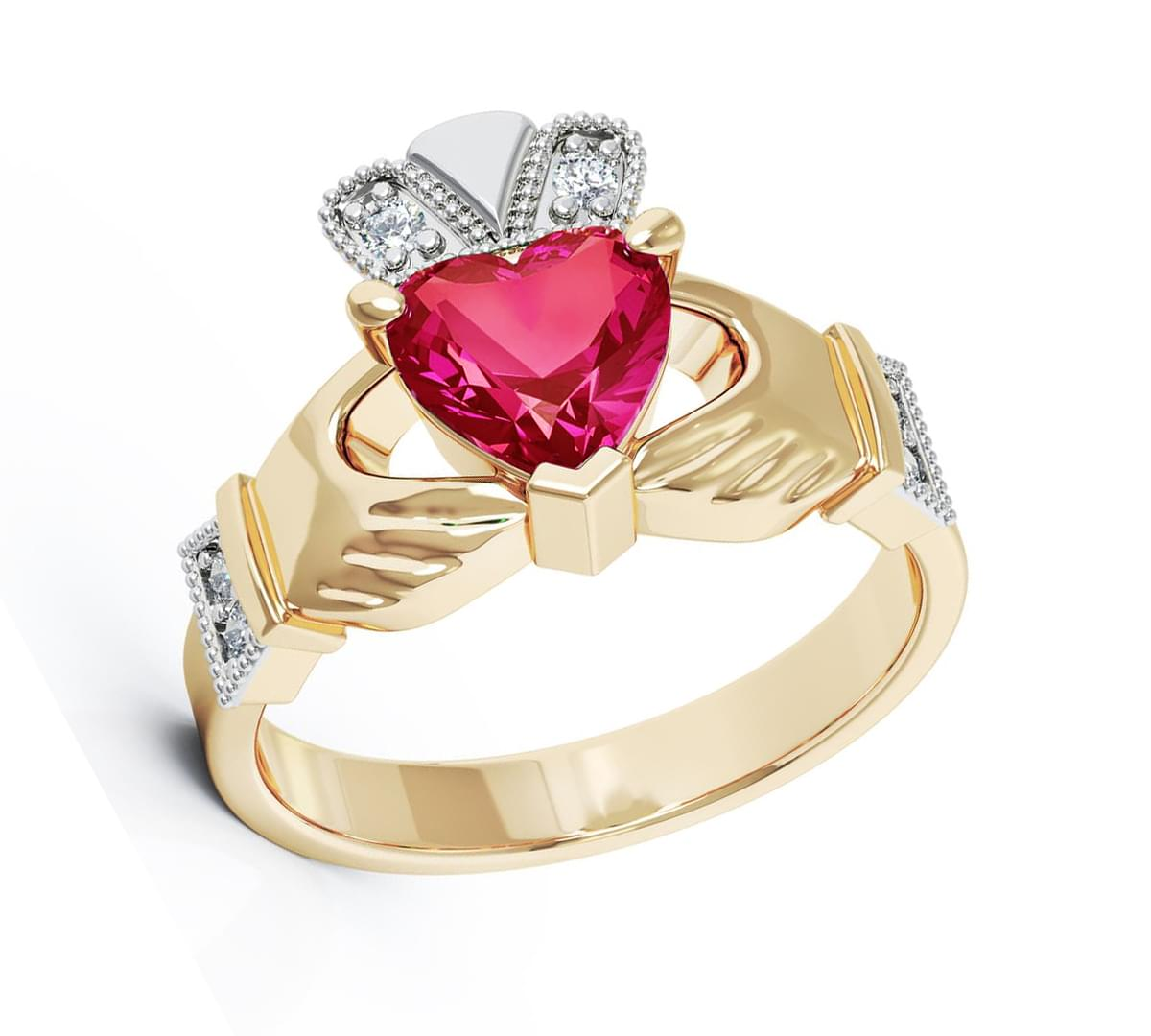 Yellow Gold Heartshape Ruby & Diamond Claddagh Engagement Ring