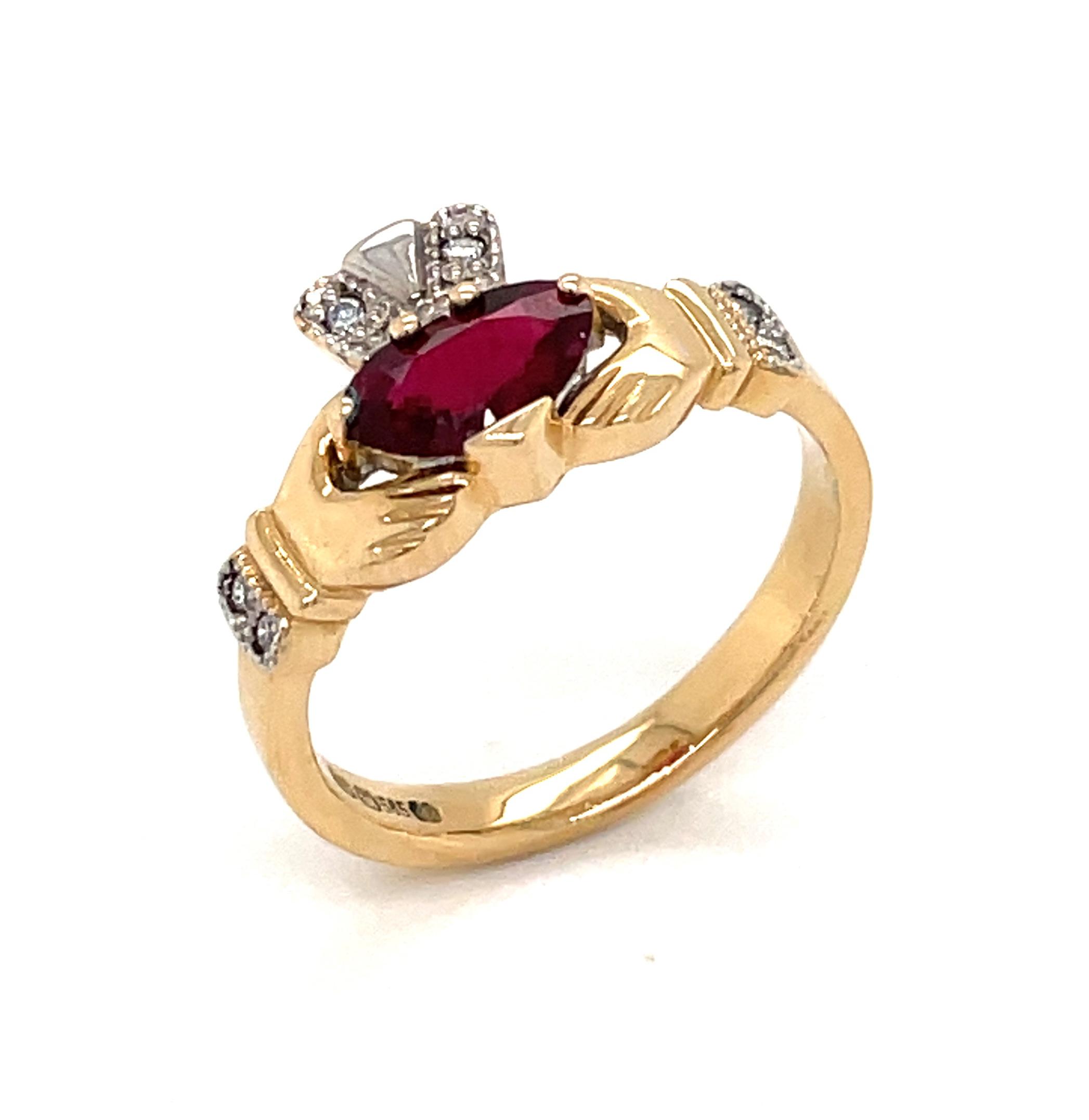 Yellow Gold Heartshape Ruby & Diamond Claddagh ring