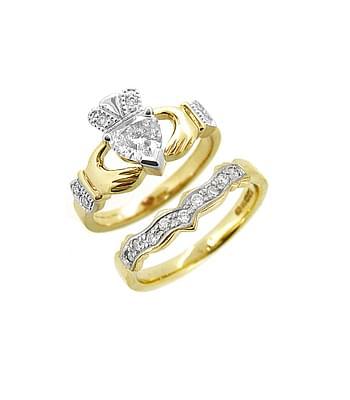 Full Heartshape Diamond Claddagh Engagement Ring