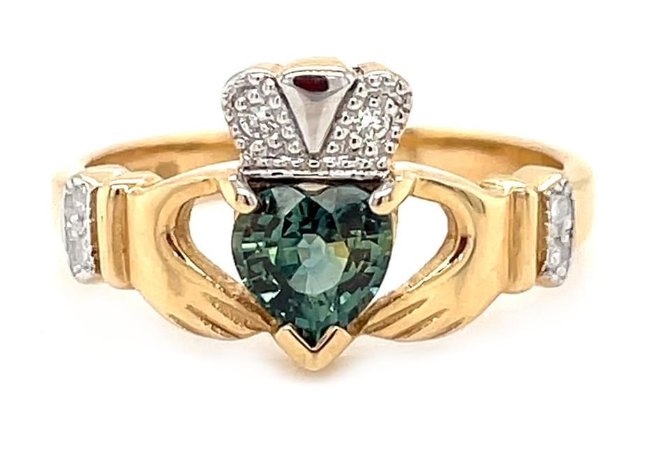 Yellow Gold Heart Green Sapphire & Diamond Claddagh Ring
