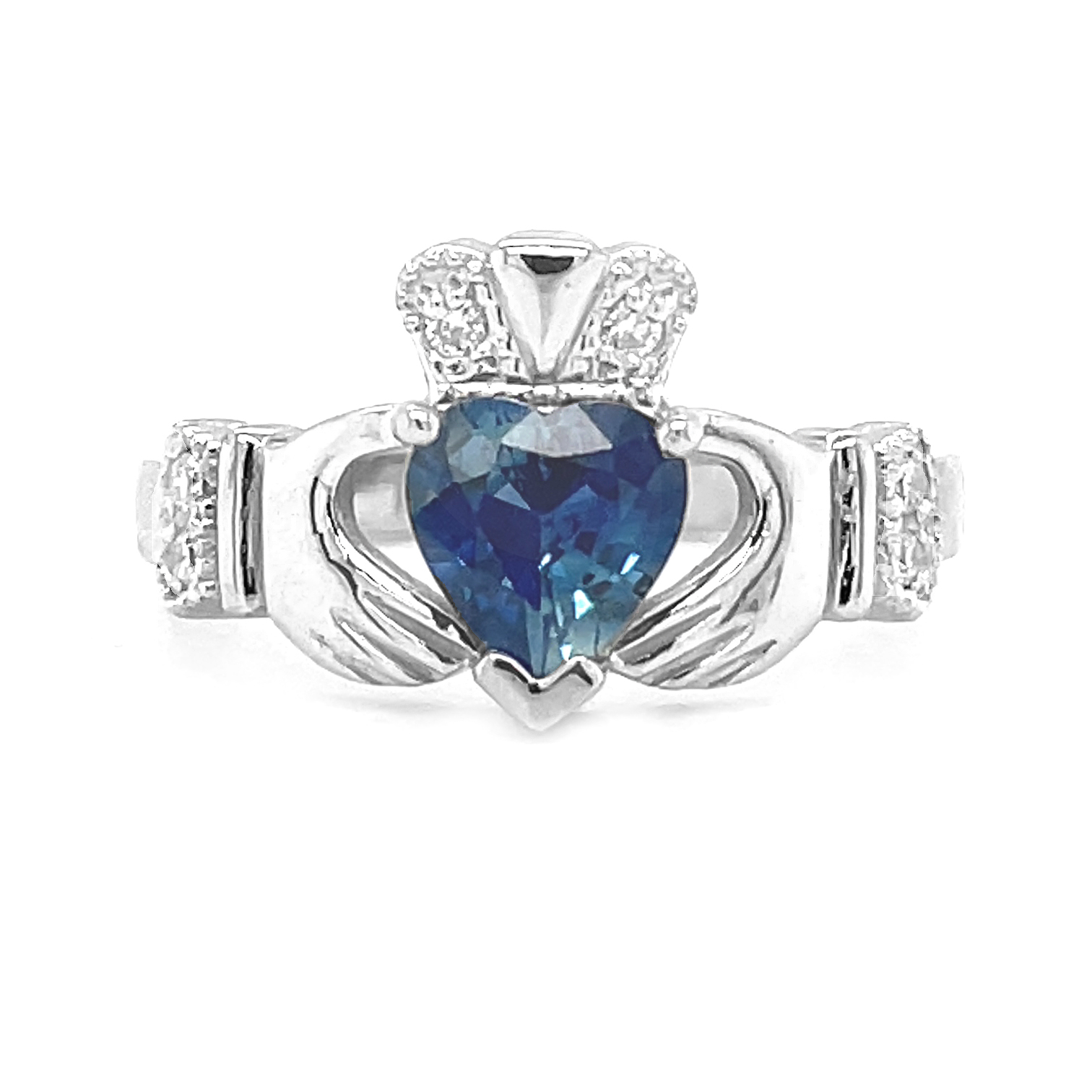 14k White Gold, 1.34cts Sapphire Claddagh Engagement Ring