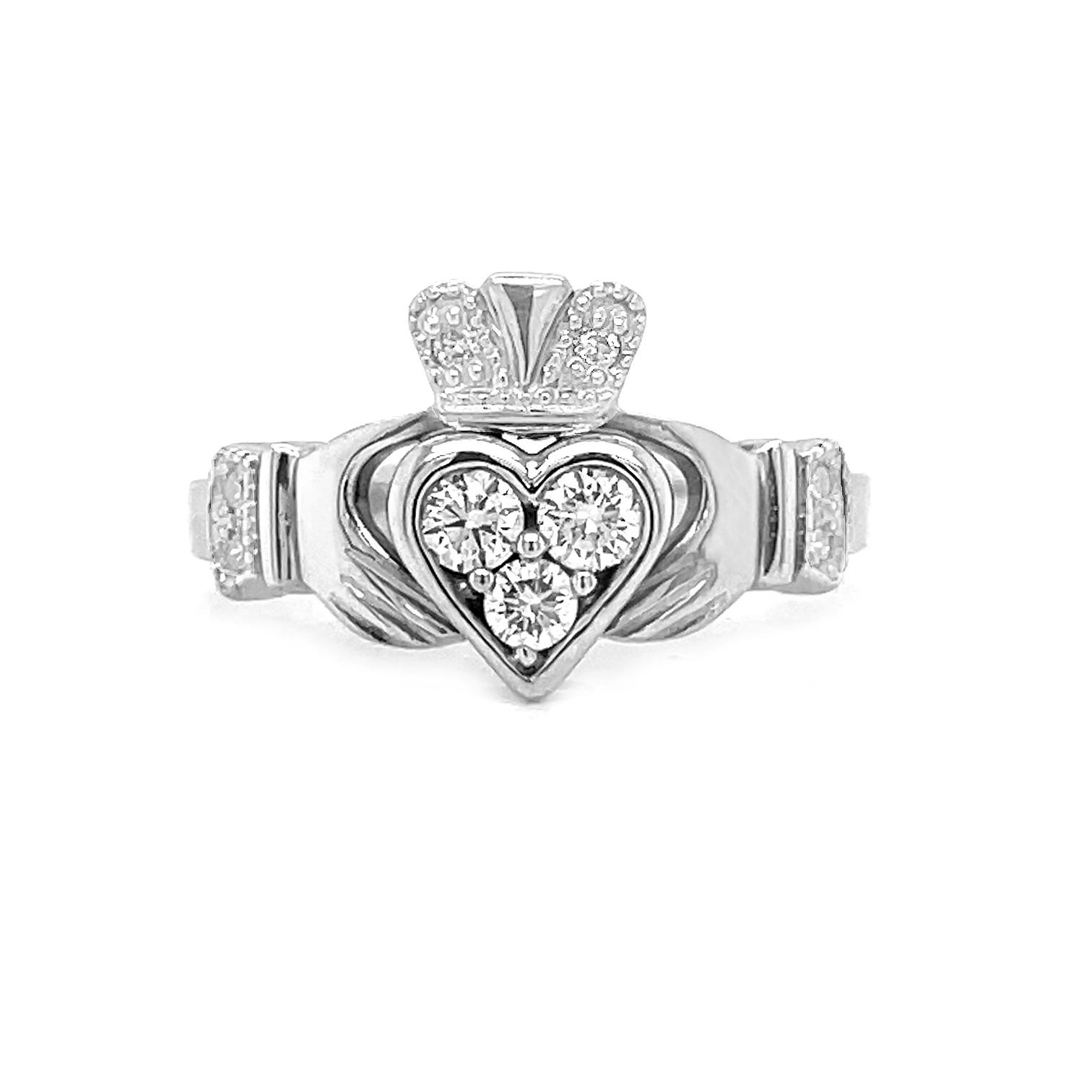 White Gold 3 Stone Diamond Claddagh Ring