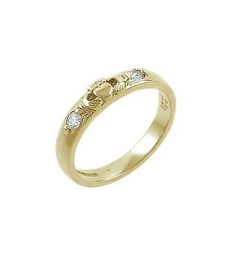 Yellow Gold 2 Stone Diamond Claddagh Ring