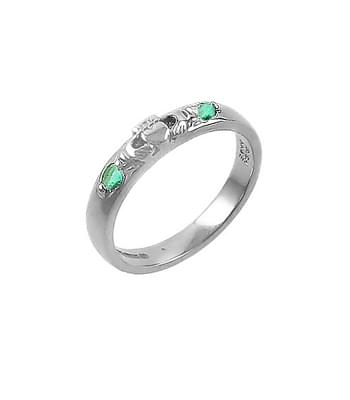White Gold 2 Stone Emerald Claddagh Ring