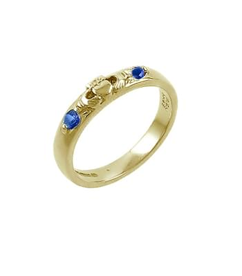 Yellow Gold 2 Stone Sapphire Claddagh Ring
