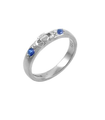 White Gold 2 Stone Sapphire Claddagh Ring