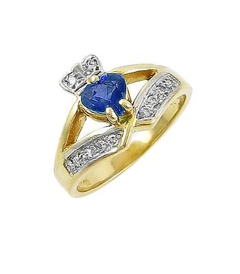 White Gold Heart Sapphire & Diamond Claddagh Wishbone Ring