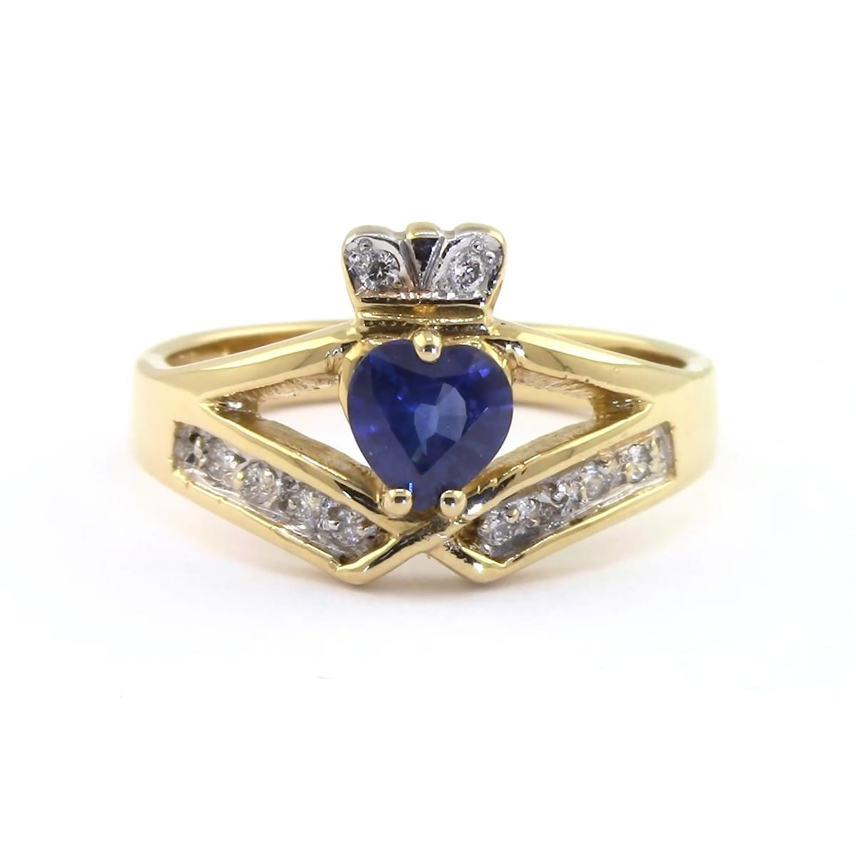 Sapphire And Diamond Claddagh Ring In 14k Yellow Gold