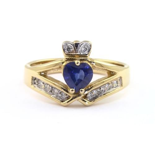 Yellow Gold Heart Sapphire & Diamond Claddagh Wishbone Ring