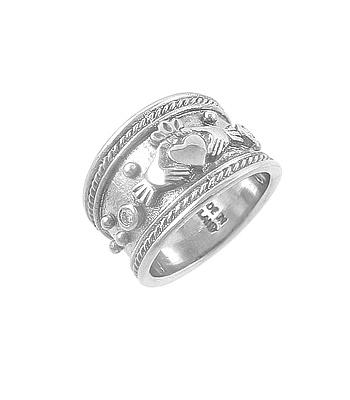 White Gold Brilliant Cut Diamond Wide Claddagh Ring