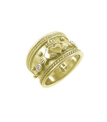 14k Gold Brilliant Cut Diamond Wide Claddagh Ring