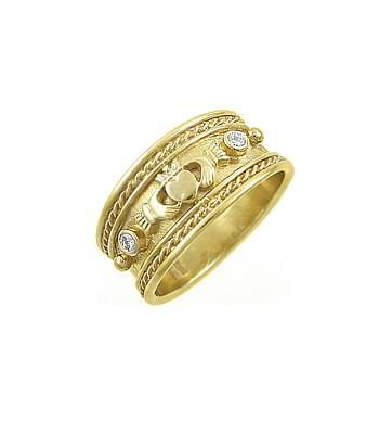 Diamond Wide Claddagh Ring