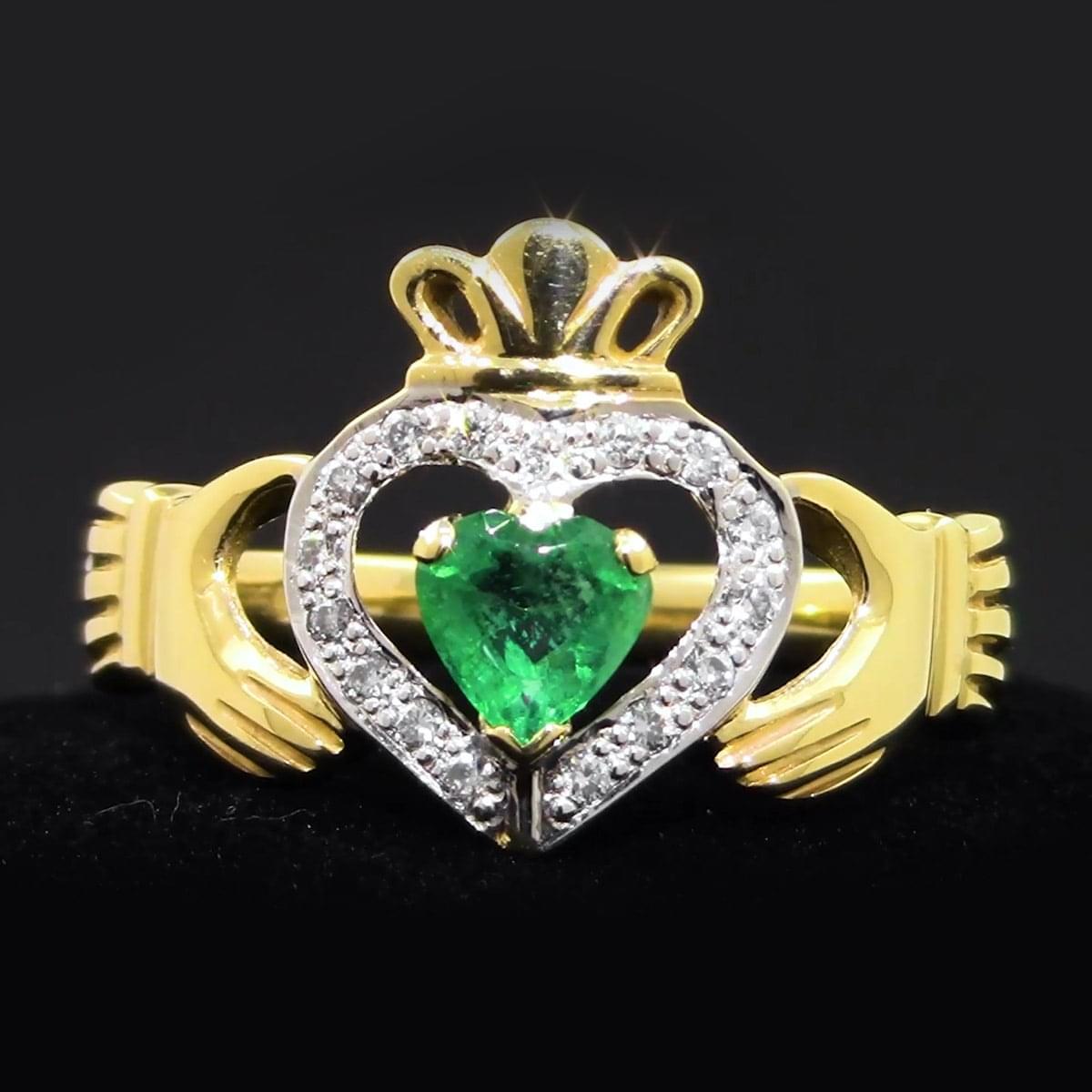 Yellow Gold Emerald & Diamond Claddagh Ring