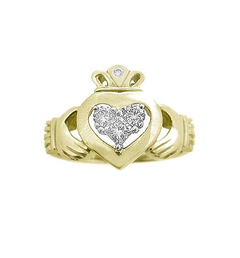 Yellow Gold 3 Stone Diamond Claddagh Engagement Ring