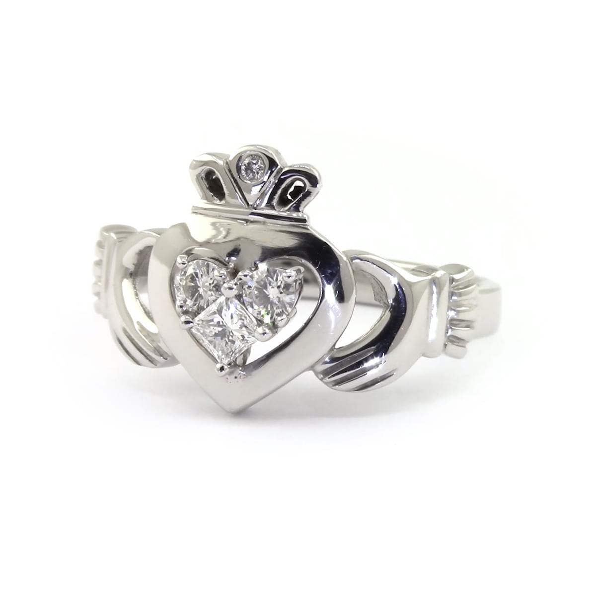 White Gold 3 Stone Diamond Claddagh Engagement Ring