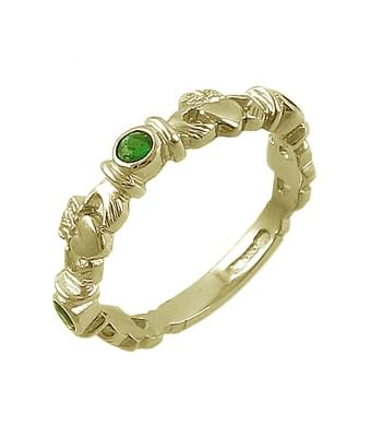 Yellow Gold 3 Stone Emerald Claddagh Ring