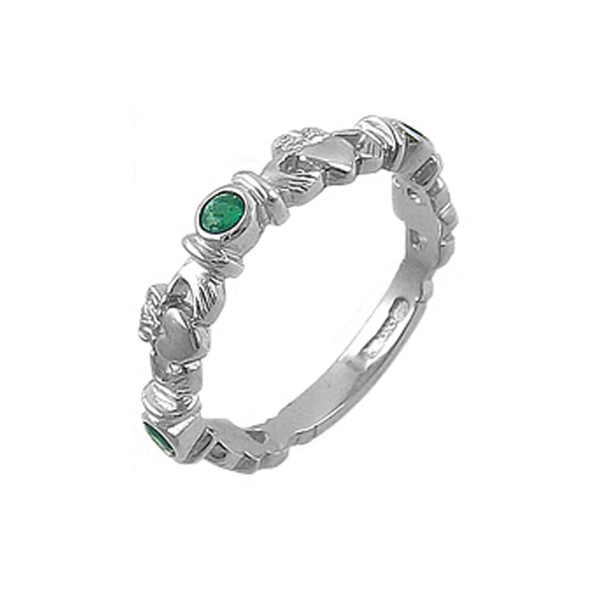 White Gold 3 Stone Emerald Claddagh Ring