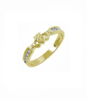 Yellow Gold Diamond Claddagh Ring