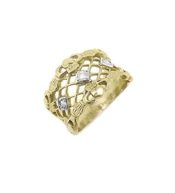 3 Stone Diamond Claddagh Wide Ring