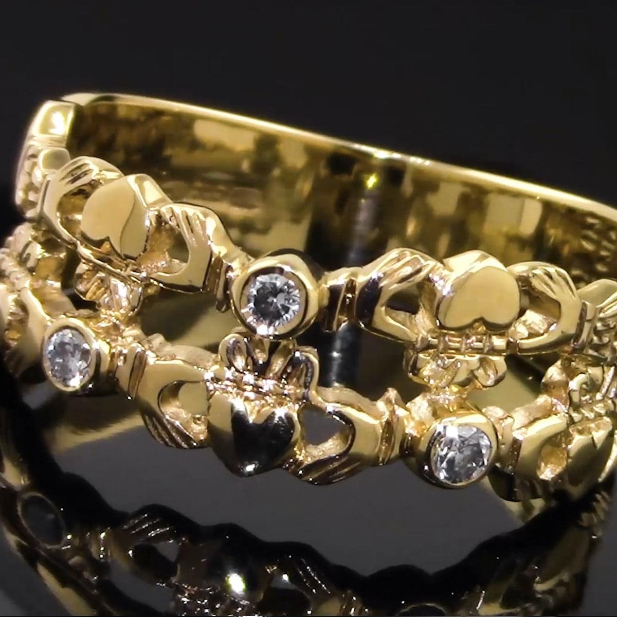 3 Stone Yellow Gold Diamond Claddagh Ring