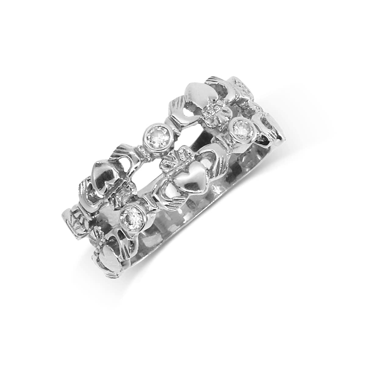 3 Stone Diamond Claddagh Ring