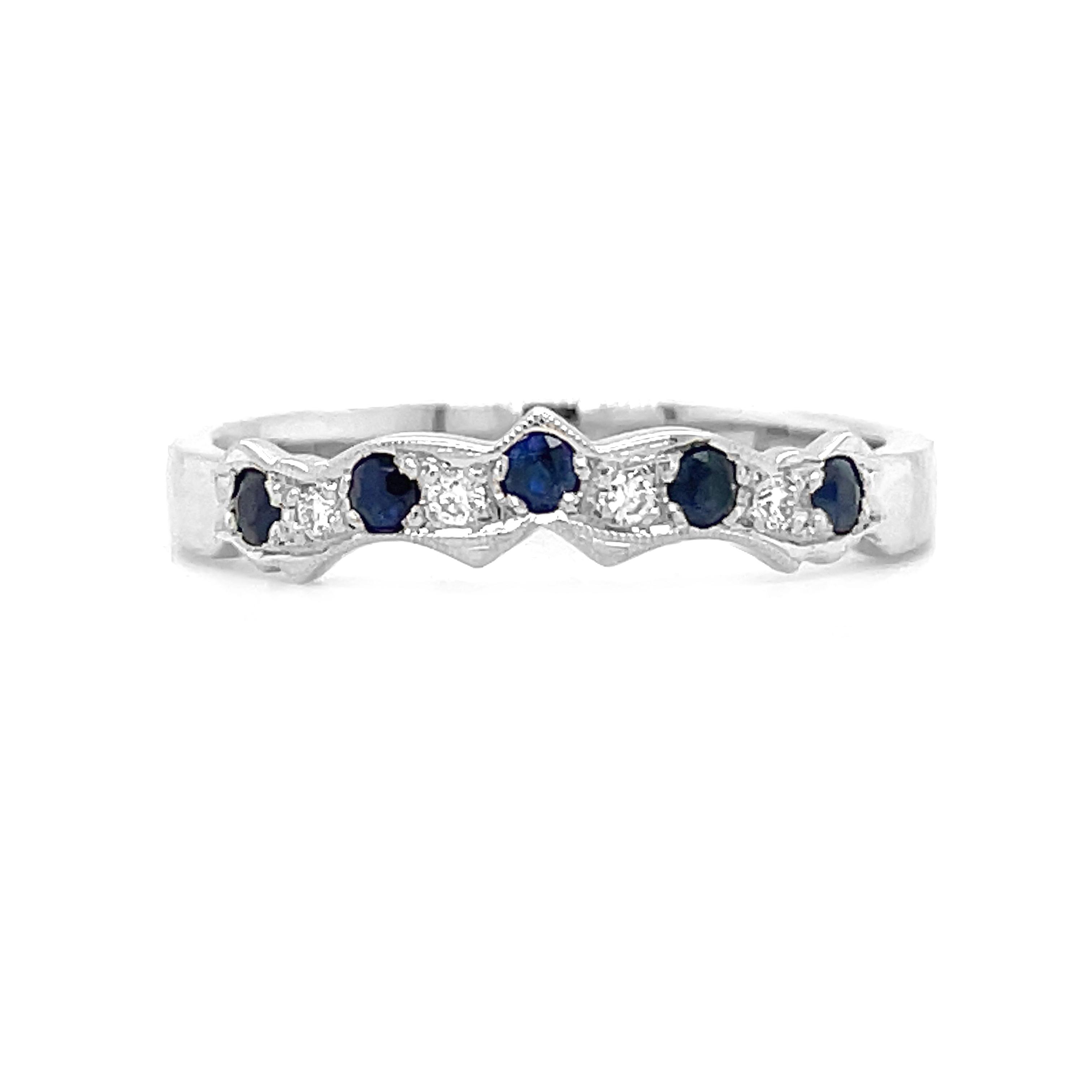 White Gold Sapphire & Diamond Claddagh Wedding Ring