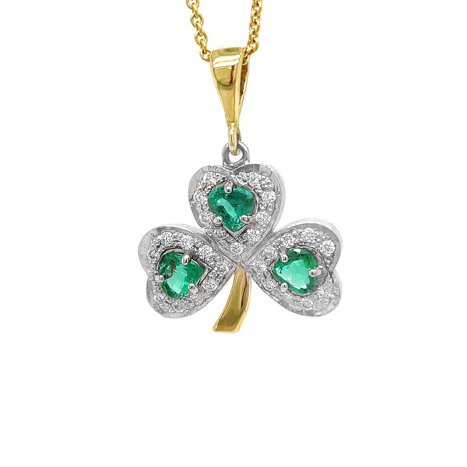 Gold Heartshape Emerald & Brilliant Cut Diamond Shamrock Pendant