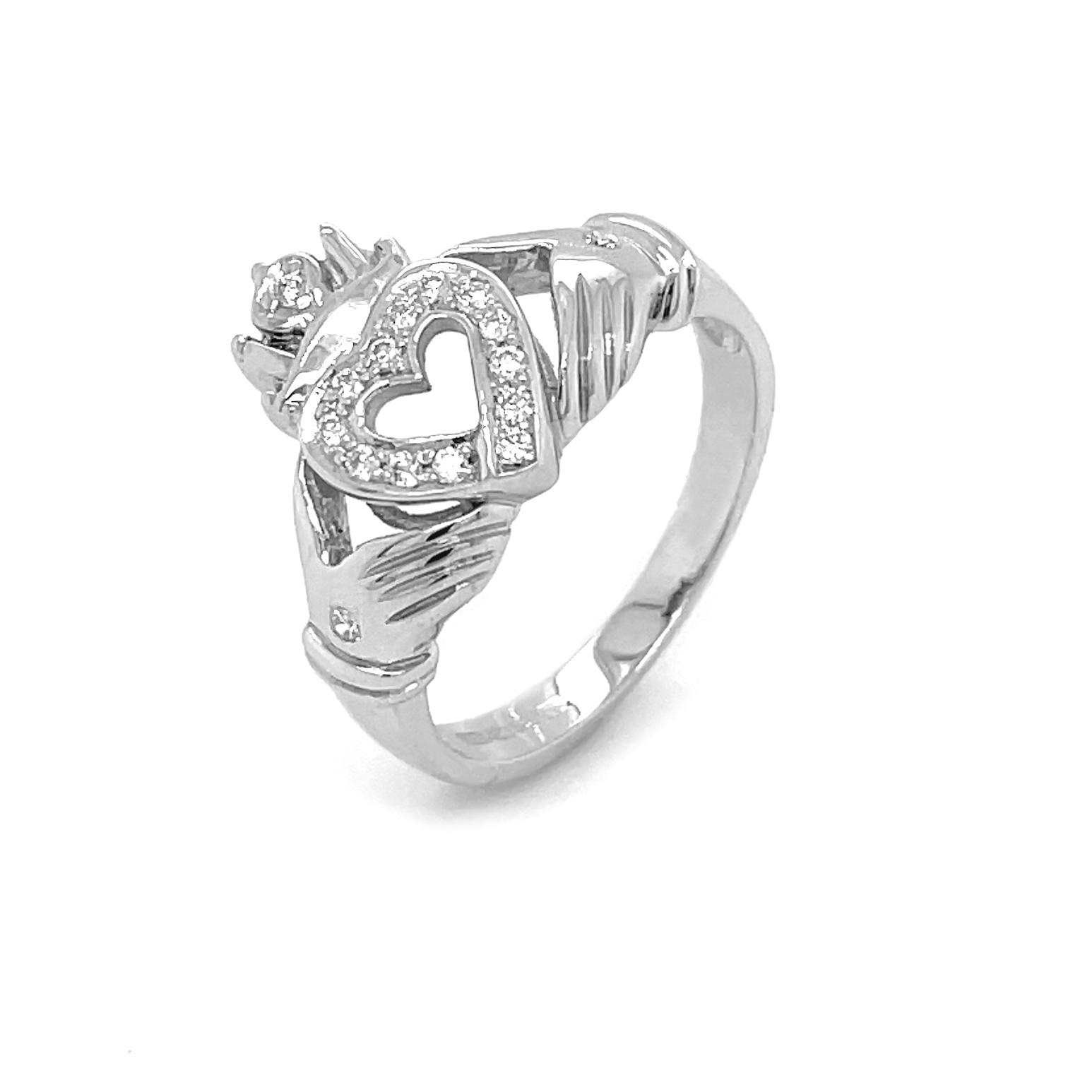 Diamond Open Heart Claddagh Ring