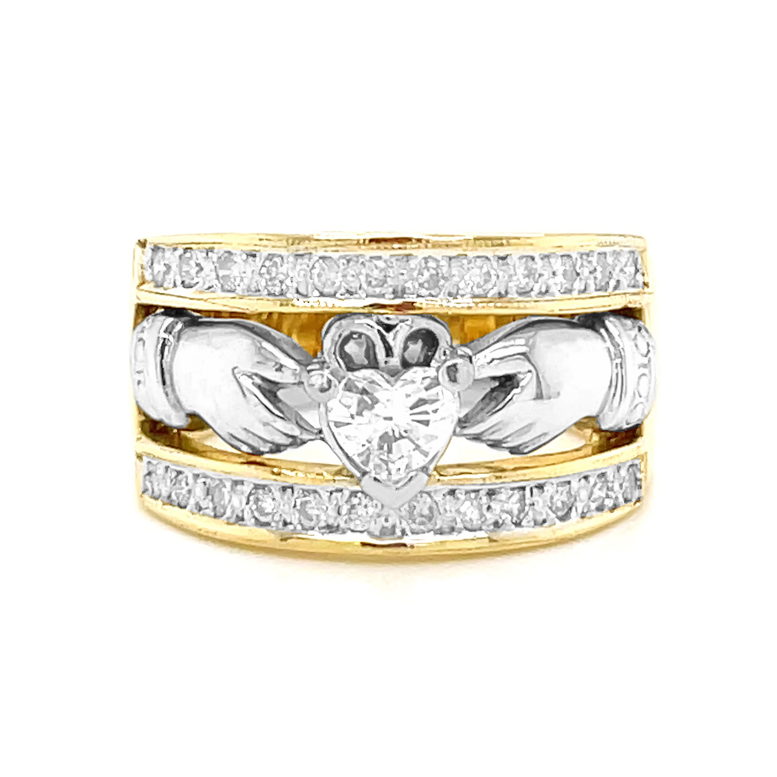 Yellow & White Full Heartshape Diamond Claddagh Wide Ring