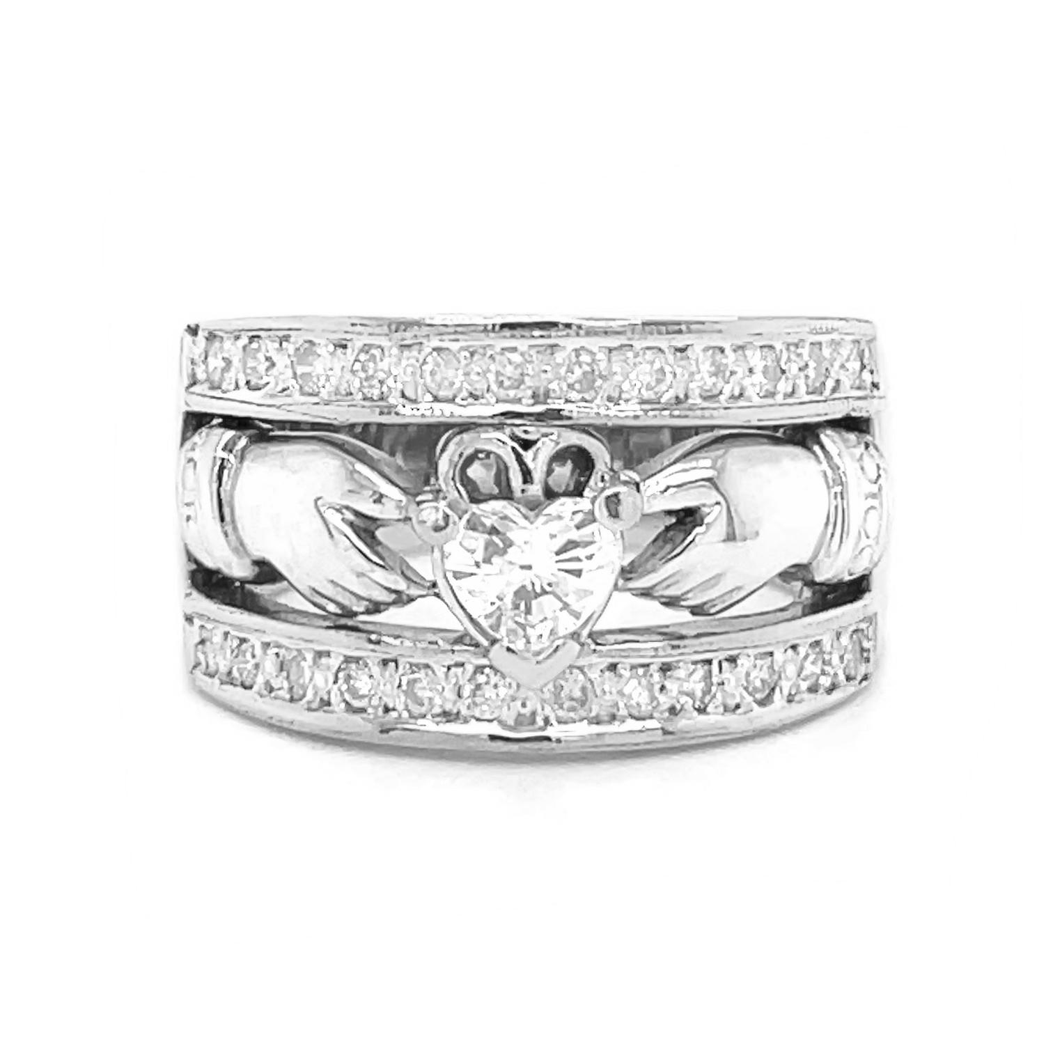 Heartshape Diamond Claddagh Wide Ring