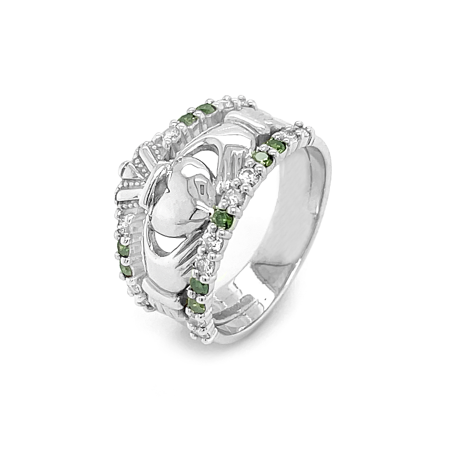 White Claddagh Ring With Green Coloured And White Diamonds