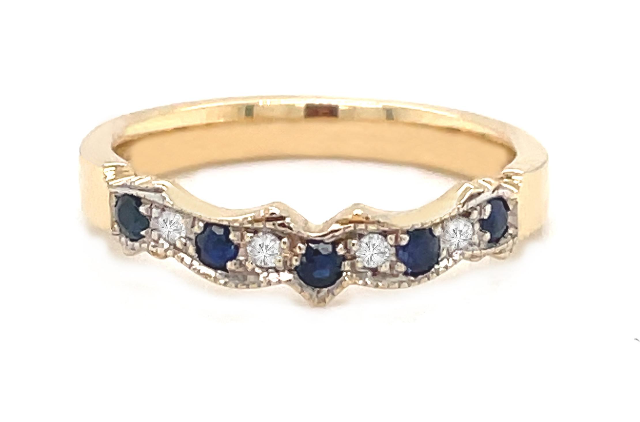 Yellow Gold Sapphire & Diamond Claddagh Wedding Ring