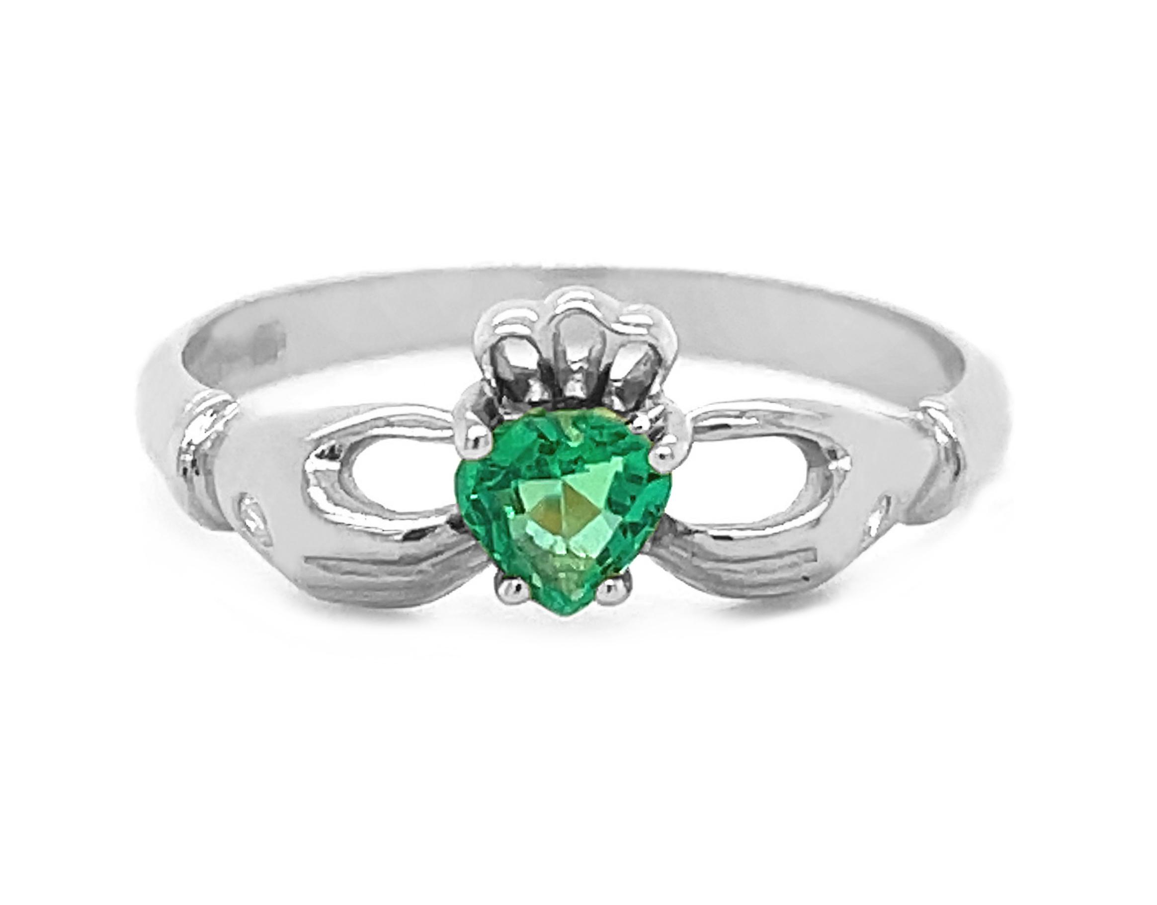 Heartshape Emerald Diamond Claddagh Ring