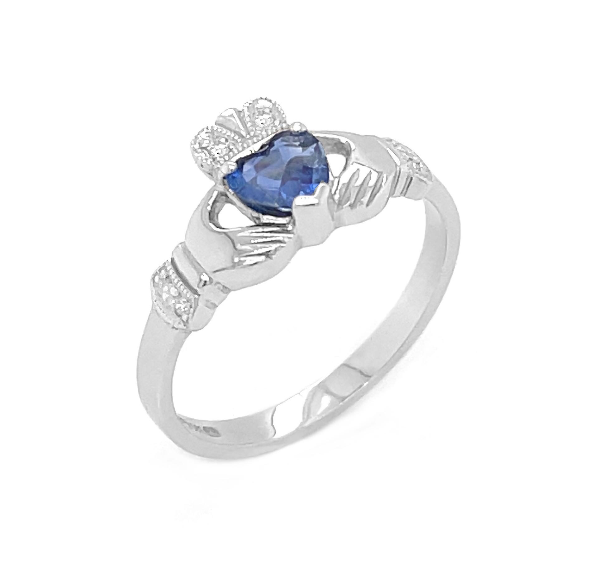 Heartshape Sapphire And Diamond Claddagh Ring